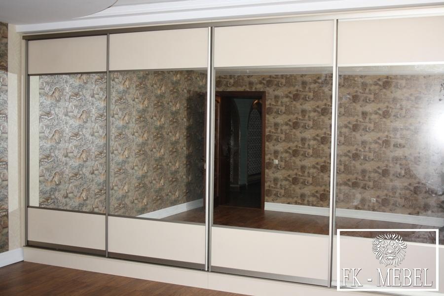 шкаф купе с наполнением фасадов из зеркала компания Fk Mebel